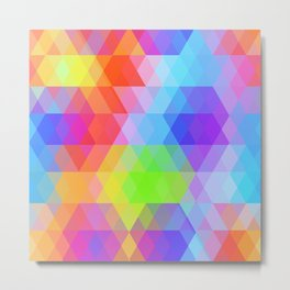 Abstract hipsters pattern with bright colored rhombus Metal Print