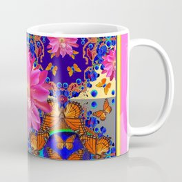 Exotic Fantastic Pink Four Panel Butterflies Tropical Floral Art Coffee Mug