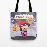 superheros Tote Bags featuring Pizzagirl by Alapapaju