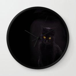 Black Cat On A Black Background #decor #buyart #society6 Wall Clock