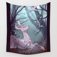 beast Wall Tapestries featuring White Beast by Red Red Telephone