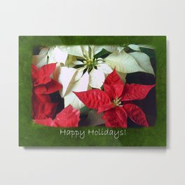 Mixed Color Poinsettias 2 Happy Holidays P1F5 Metal Print