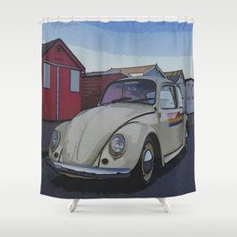 Southend on Sea Beach Huts Homage Shower Curtain
