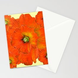 ORANGE DOUBLE  HOLLYHOCK FLOWERS YELLOW GARDEN Stationery Cards