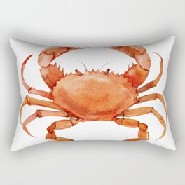 Watercolor Red Crab on White Minimalist Coastal Art - Treasures of the Sea Collection Rectangular Pillow