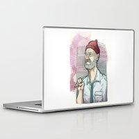 steve zissou Laptop & iPad Skins featuring This is an ADVENTURE! Steve Zissou Bill Murray by suPmön