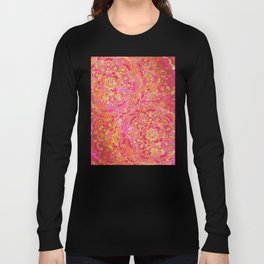 Hot Pink and Gold Baroque Floral Pattern Long Sleeve T-shirt
