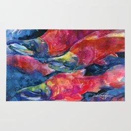 Sockeye Salmon Watercolor Painting Rug