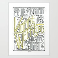 vampire weekend Art Prints featuring Vampire Weekend Band Poster by Cory Van Andel