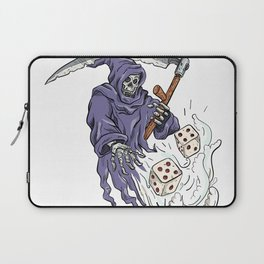 Grim Reaper Throwing the Dice Drawing Color Laptop Sleeve