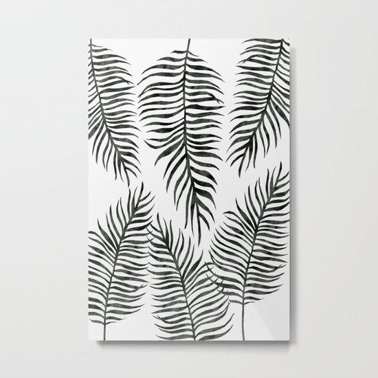 Black Fern Pattern Metal Print