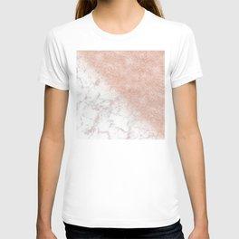 Elegant faux rose gold confetti white marble image T-shirt