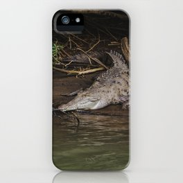 Wild crocodile sits on edge of river on muddy riverbank iPhone Case