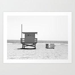 Manhattan Beach Lifeguard Tower (Black and White) Art Print