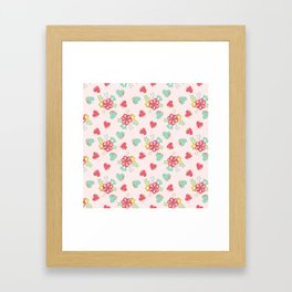 Pink and Blue Flowers and Hearts Framed Art Print