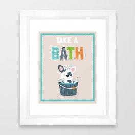 Take a Bath puppy illustration children's bathroom art print Framed Art Print