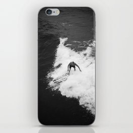 Black and White Wave Surfer iPhone Skin
