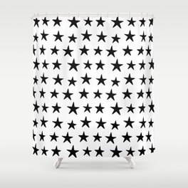 Star Pattern Black On White Shower Curtain