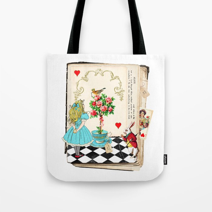 Alice S Book In Wonderland Tote Bag By Wendypaulapatterson