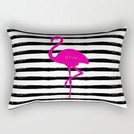 Flamingo & Stripes - Black Hot Pink Rectangular Pillow