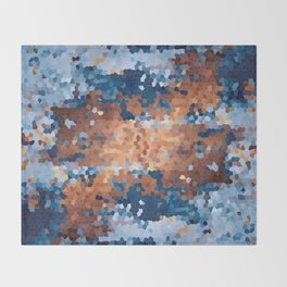Copper and Denim Abstract Throw Blanket