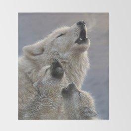 Wolf Pups Howling - Singing Lesson Throw Blanket