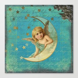 Vintage-Shabby-chic- Beautiful Christmas angel on aqua background Canvas Print