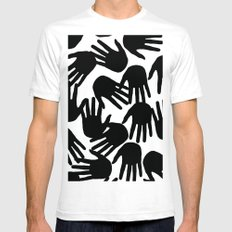 HaNdS White SMALL Mens Fitted Tee
