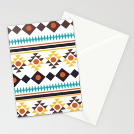 Fun Aztec Abstract Whimiscal Brown Yellow Teal Pattern Stationery Cards