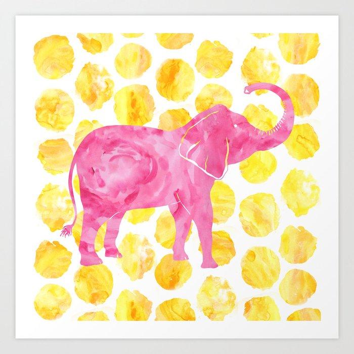 Pink Watercolor Elephant on Yellow Dots Kunstdrucke