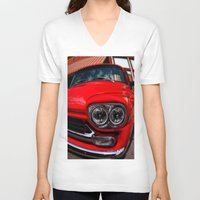 truck V-neck T-shirts featuring Vintage Truck by Mark Alder
