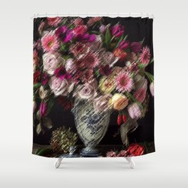 Still Life Roses, Carnations, Zinnia Flowers in Vase Painting by Jeanpaul Ferro Shower Curtain
