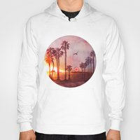 santa monica Hoodies featuring Sunset in Santa Monica by Kate Tova