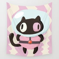cookie Wall Tapestries featuring cookie cat by pokegirl93