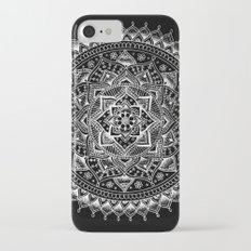 White Flower Mandala on Black iPhone 7 Slim Case