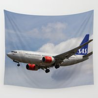 scandinavian Wall Tapestries featuring Scandinavian Airlines Boeing 737 by David Pyatt