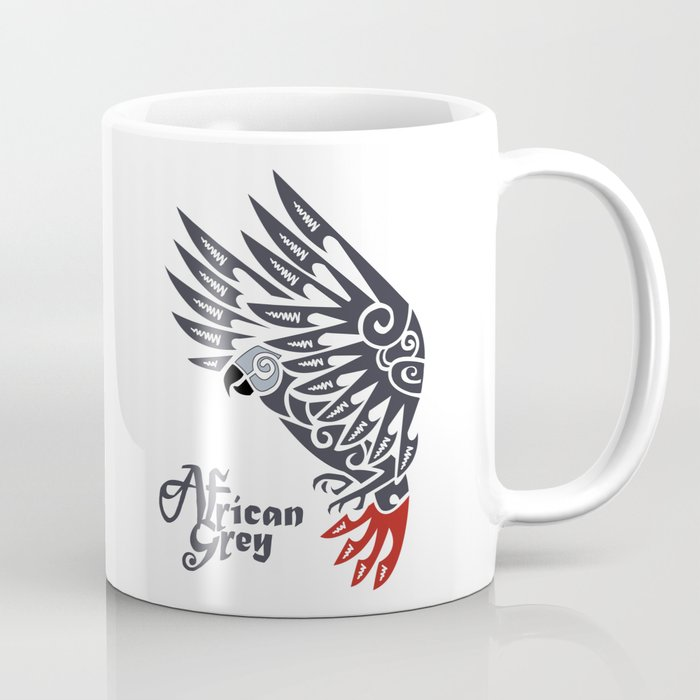 6bff4563976c2 African grey parrot tribal tattoo Coffee Mug by lifewithbirds | Society6
