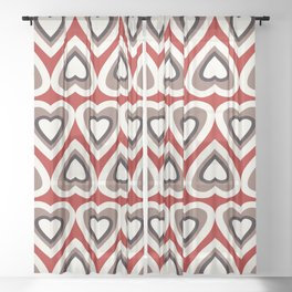 Strawberry and Chocolate Cream Love Hearts Sheer Curtain