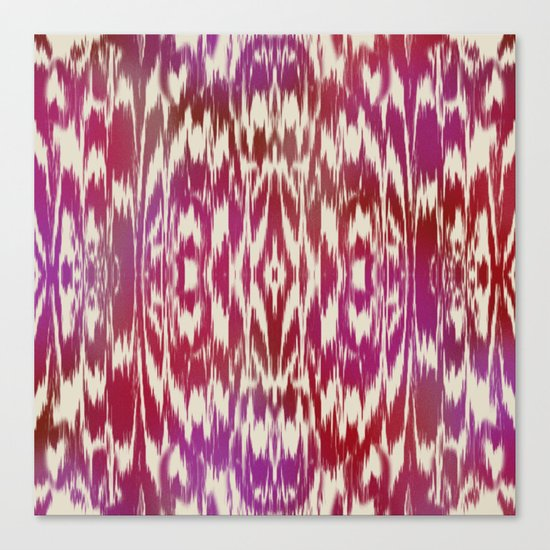 Ikat: Red, Pink Multi Canvas Print