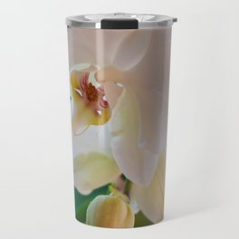 Blossoming White Orchid Flower on Green Background Travel Mug