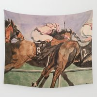 racing Wall Tapestries featuring Racing Trio by Connie Campbell