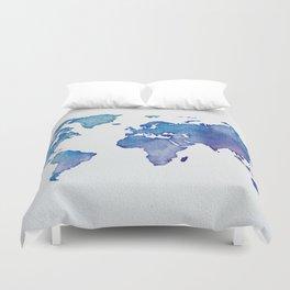 Blue World Map 02 Duvet Cover