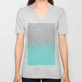 Modern girly faux silver glitter ombre teal ocean color bock Unisex V-Neck