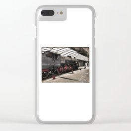 steam locomotive inside the train station Clear iPhone Case