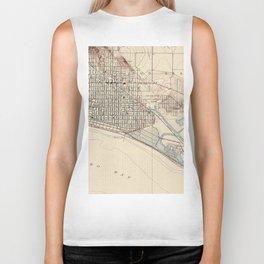 Vintage Map of Long Beach California (1923) Biker Tank
