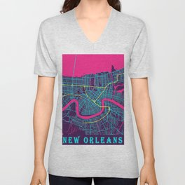 New Orleans Neon City Map, New Orleans Minimalist City Map Unisex V-Neck