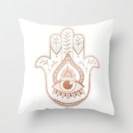 Hamsa Hand - Rosé Gold Throw Pillow