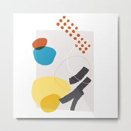 Shape & Hue Series No. 1 – Yellow, Orange & Blue Modern Abstract Metal Print