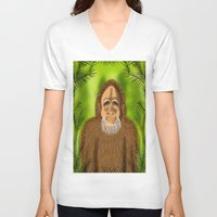 yeti V-neck T-shirts featuring Yeti by Designs By Misty Blue (Misty Lemons)