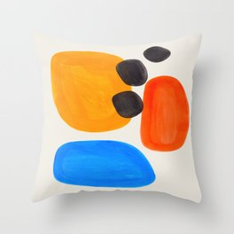 Minimalist Modern Mid Century Colorful Abstract Shapes Primary Colors Yellow Orange Blue Bubbles Throw Pillow